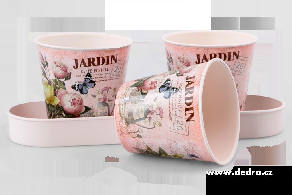 3ks obal na květináč, na podnosu JARDIN