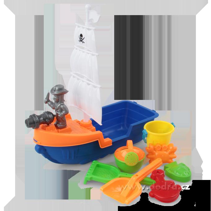 Velká pirátská plachetnice, set 9 ks, do vany i bazénku