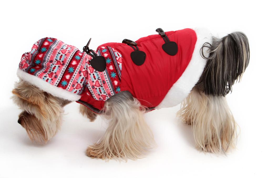 Zimní kabátek s kapucí a podšívkou červený L