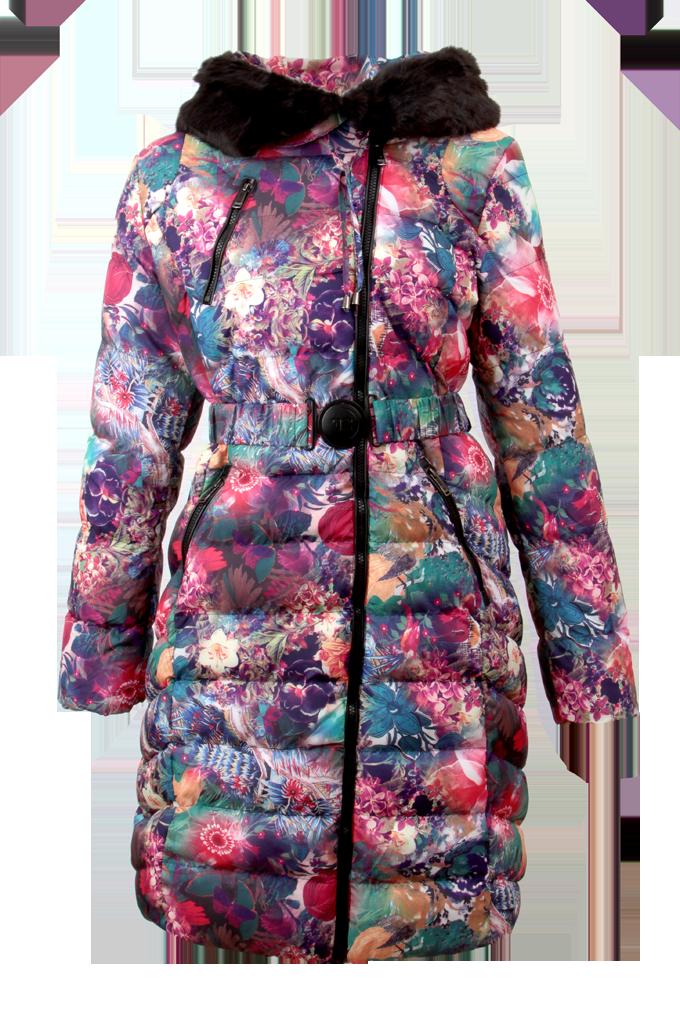 Kabát dámský, prošívaný s hřejivou plyšovou podšívkou a kapucí AQUARELLE