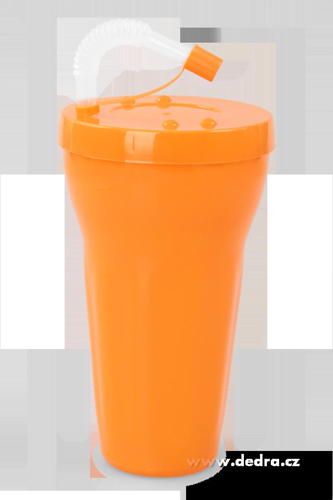 Kelimero s brčkem900 ml, oranžové