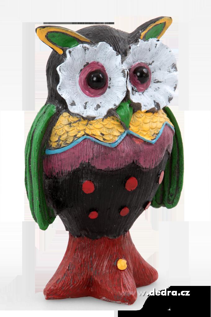 Ručně malovaná dekorativní sova černo-zeleno-červená