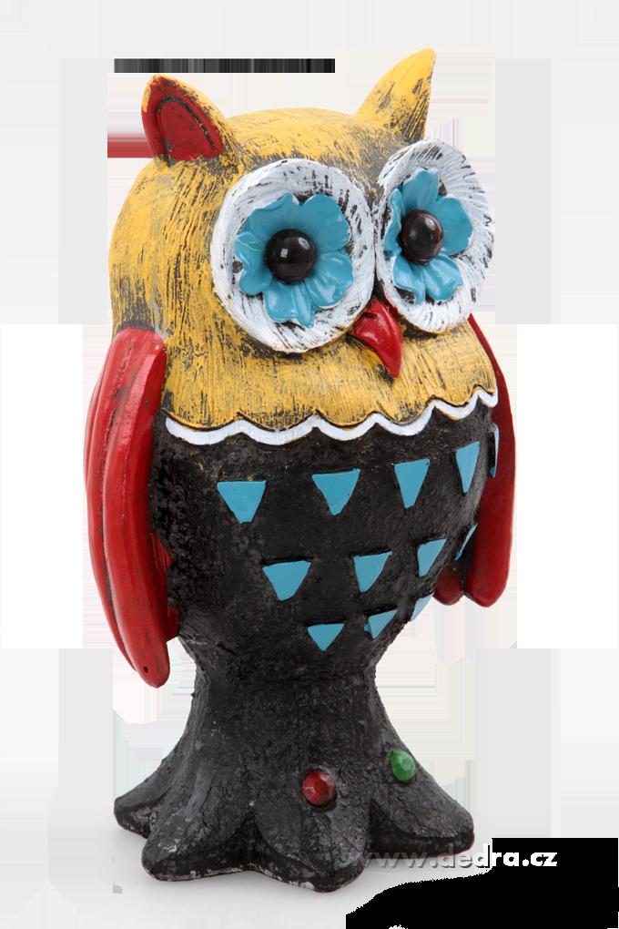Ručně malovaná dekorativní sova žluto-černo-červená