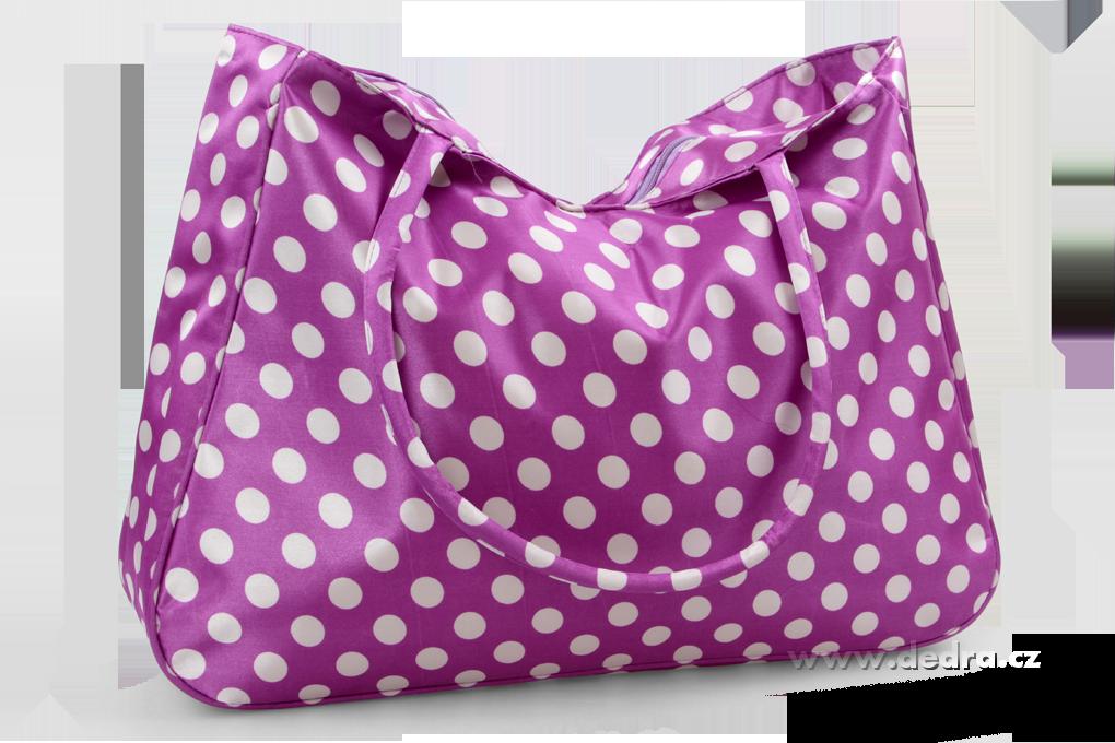 Velká textilní taška s uzavíráním na zip levandulová s bílými