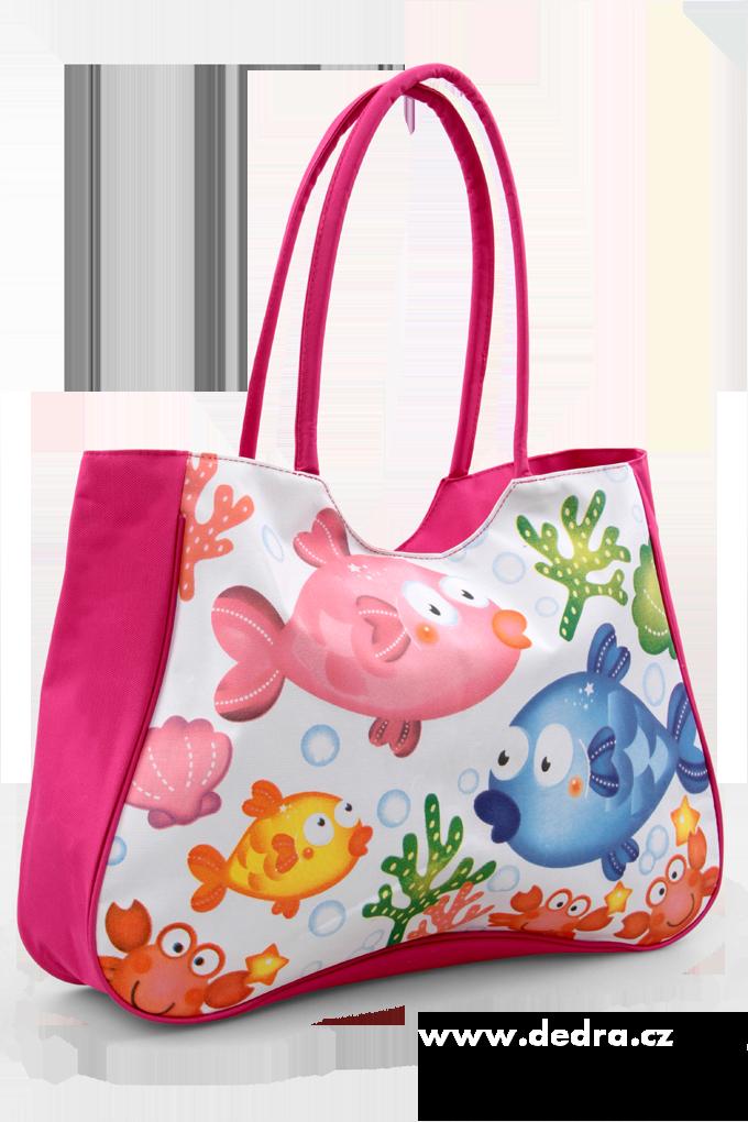 Velká textilní taška s uzavíráním na zip růžová rybičky