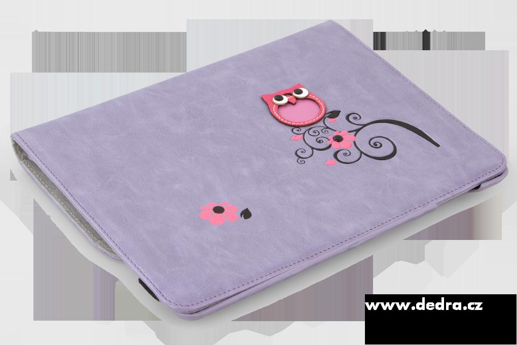Pouzdro na iPad s aplikací sovy a květin, šeříkové