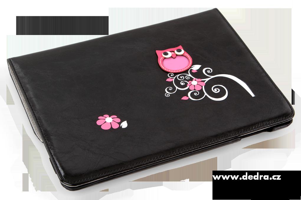 Pouzdro/stojan na iPad s aplikací sovy a květin, černé