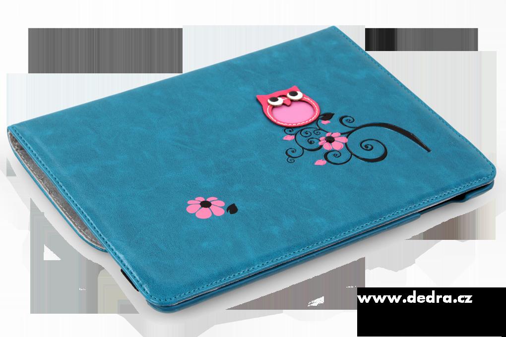 Pouzdro na iPad s aplikací sovy a květin, tyrkysové
