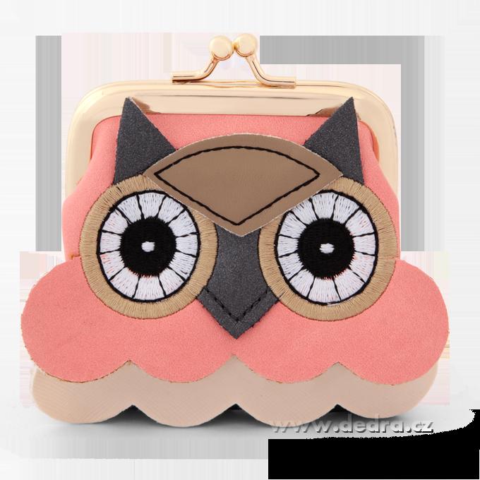 Pouzdro/peněženka s aplikací sovy meruňkové