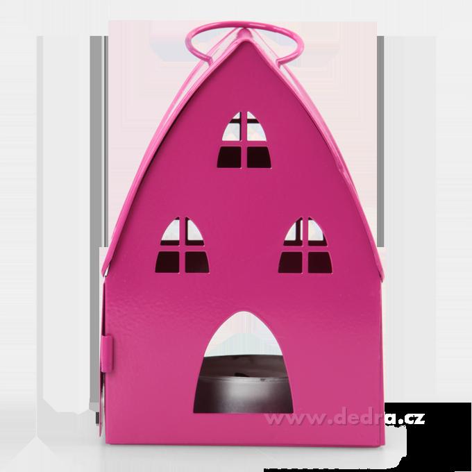 DA74615-Kovová lucerna v designu chaloupky fuchsiová