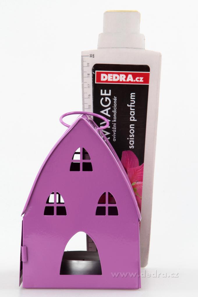 DA74616-Kovová lampáš v dizajne chalúpky levanduľová