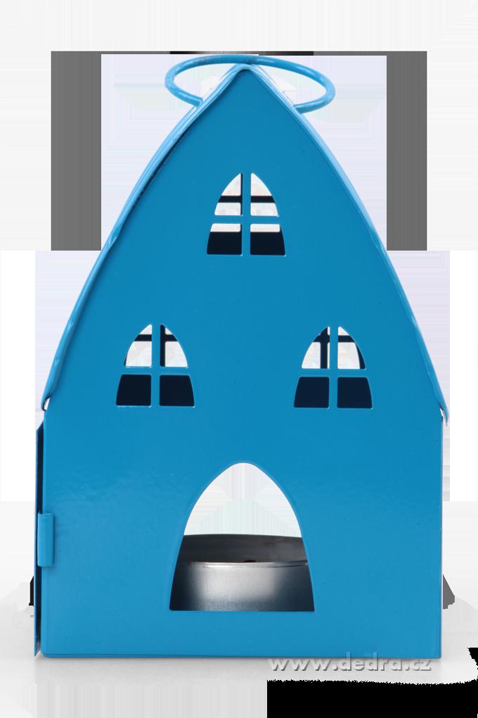 DA74617-Kovová lampáš v dizajne chalúpky tyrkysová