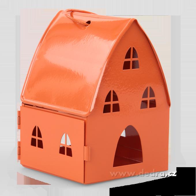 Kovová lucerna v designu chaloupky oranžová