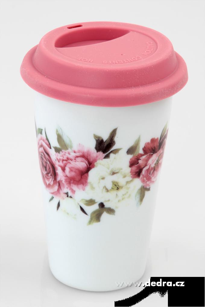 Dvoustěnný porcelán. termo hrnek KELIMERO s romantickými květy