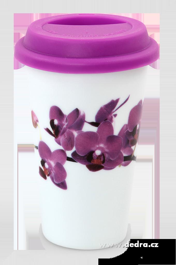 Dvoustěnný porcelán. termo hrnek KELIMERO s orchidejí