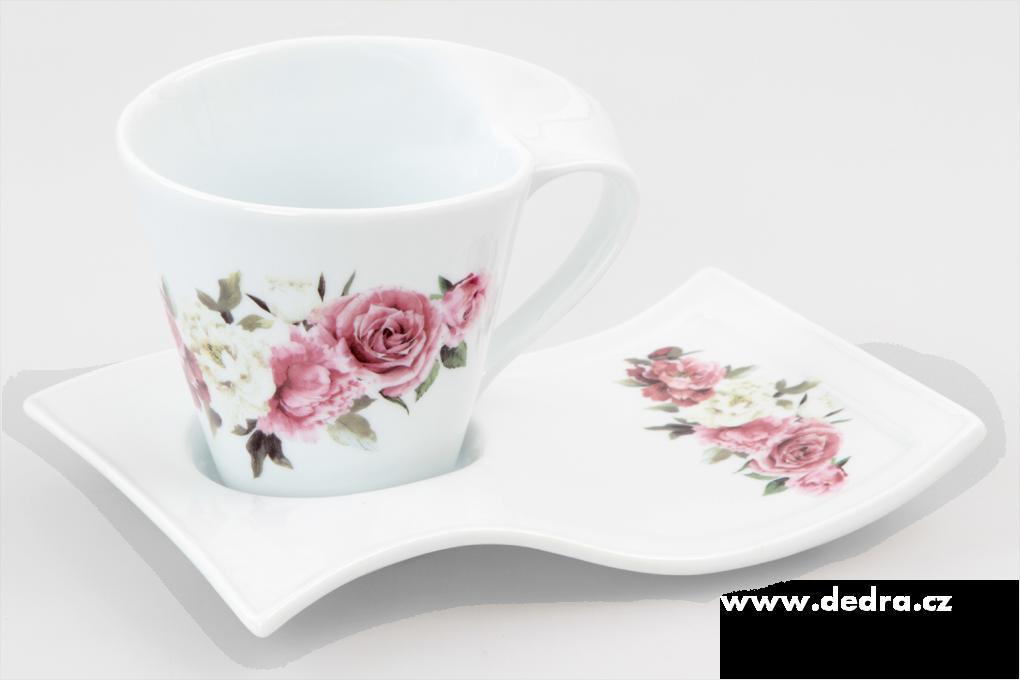 Hrníček TWIST s podšálkem, romantické květy, ultrabílý porcelán