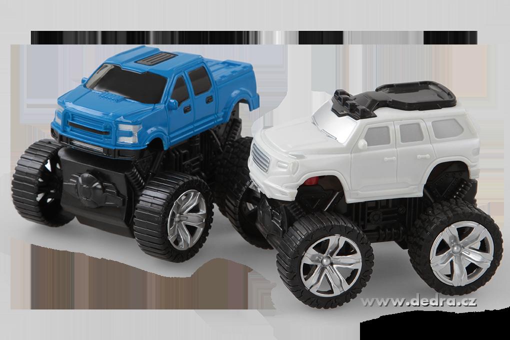 Sada 2 ks JEEP terénní auto SUV bílý a modrý