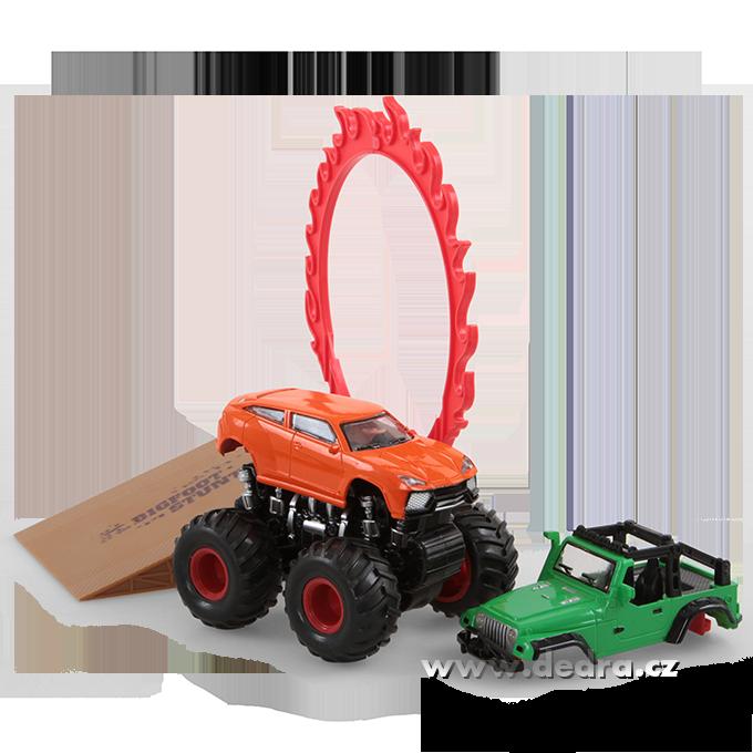 MONSTER WHEELERS auto s 2 kapotami zelené + oranžové