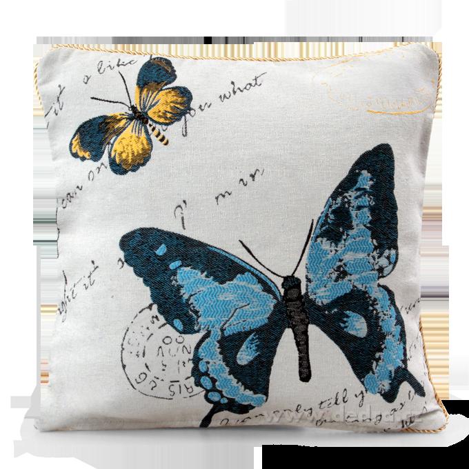 GOBELINO potah na polštář oboustranný blue butterfly