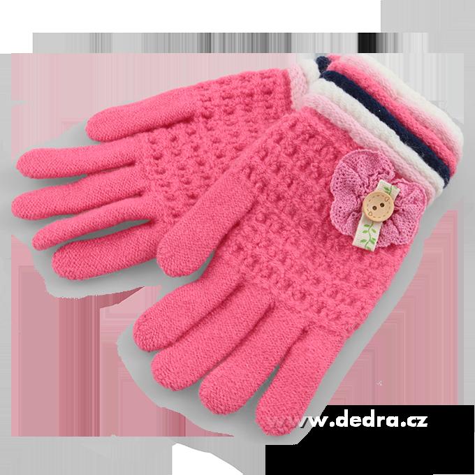 Prstové rukavice, pletené, růžové