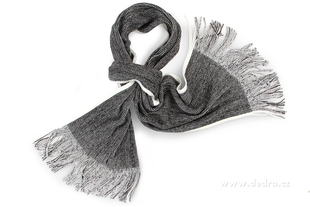 Pletený šál s bílým okrajem černo-bílý