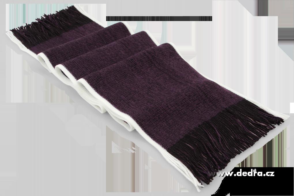 Pletený šál s bílým okrajem tmavě fialový