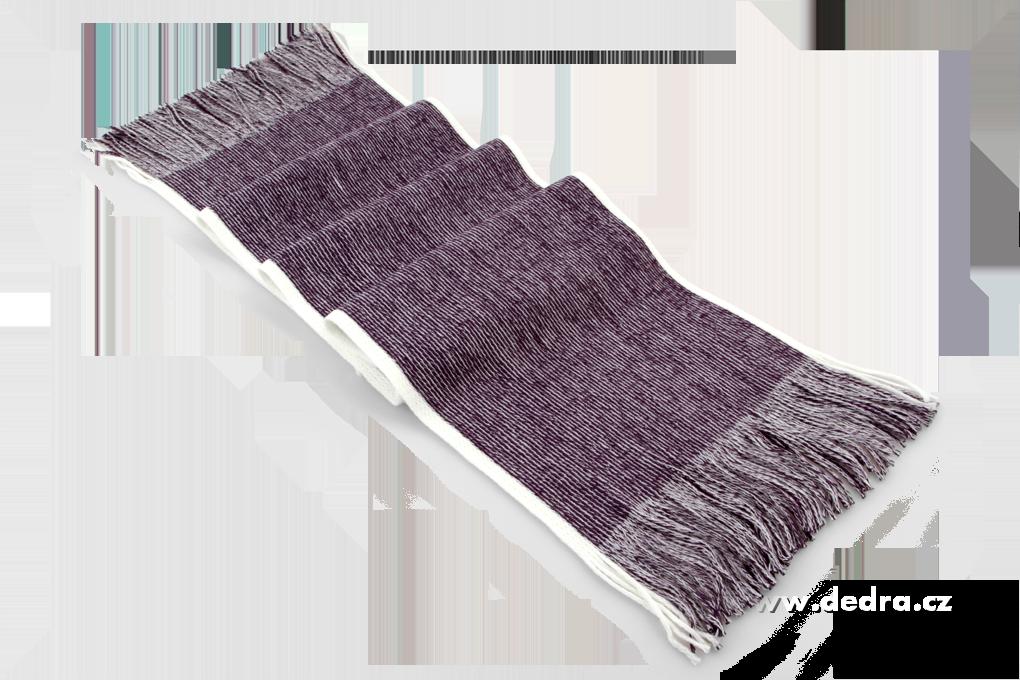 Pletený šál s bílým okrajem fialovo-šedý