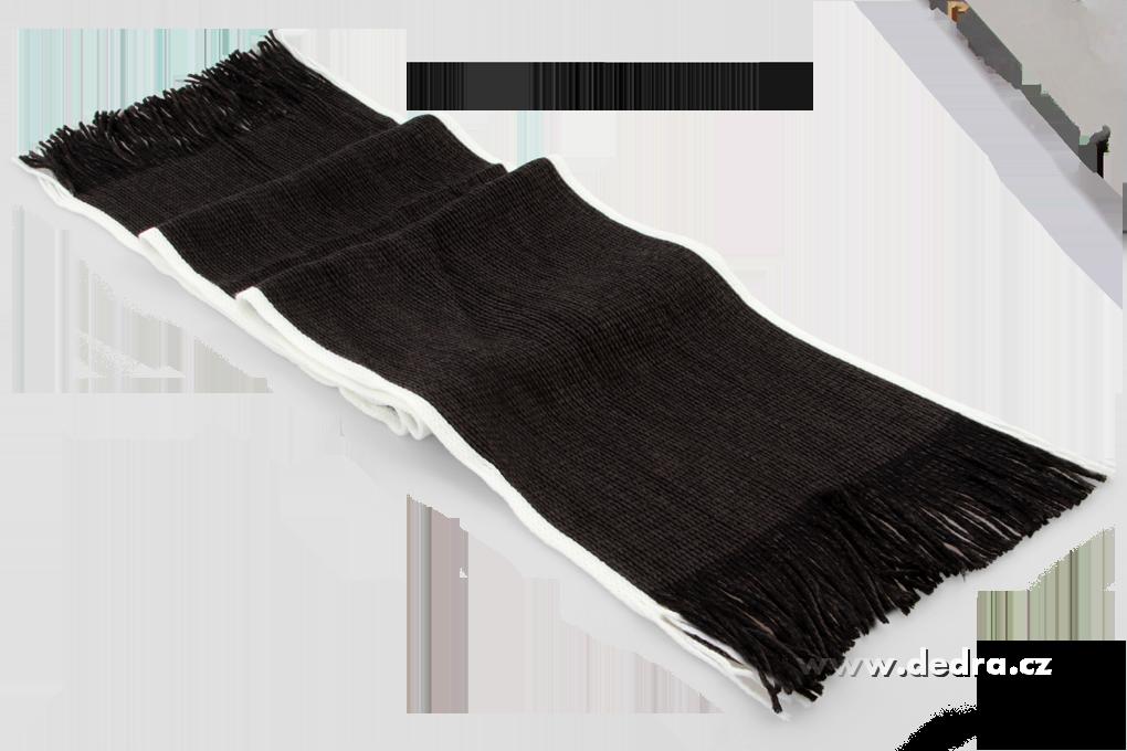 Pletený šál s bílým okrajem černý