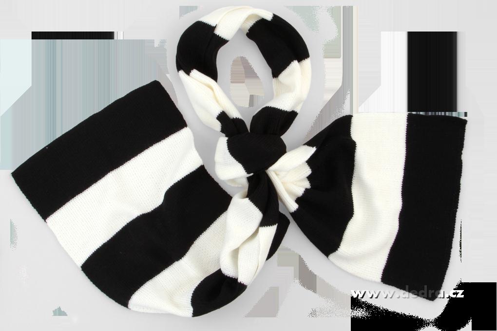 Pletený šál s pruhy černo-bílý
