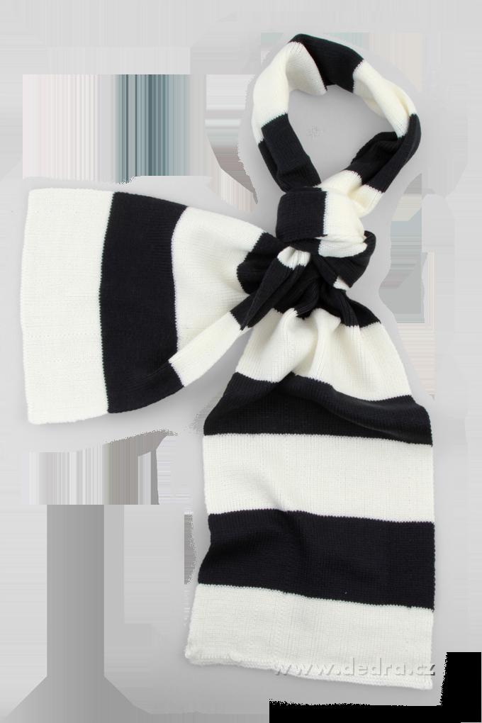 Pletený šál s pruhy tmavě šedo-bílý