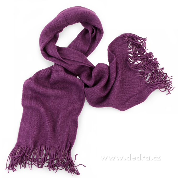 Pletený šál fialový