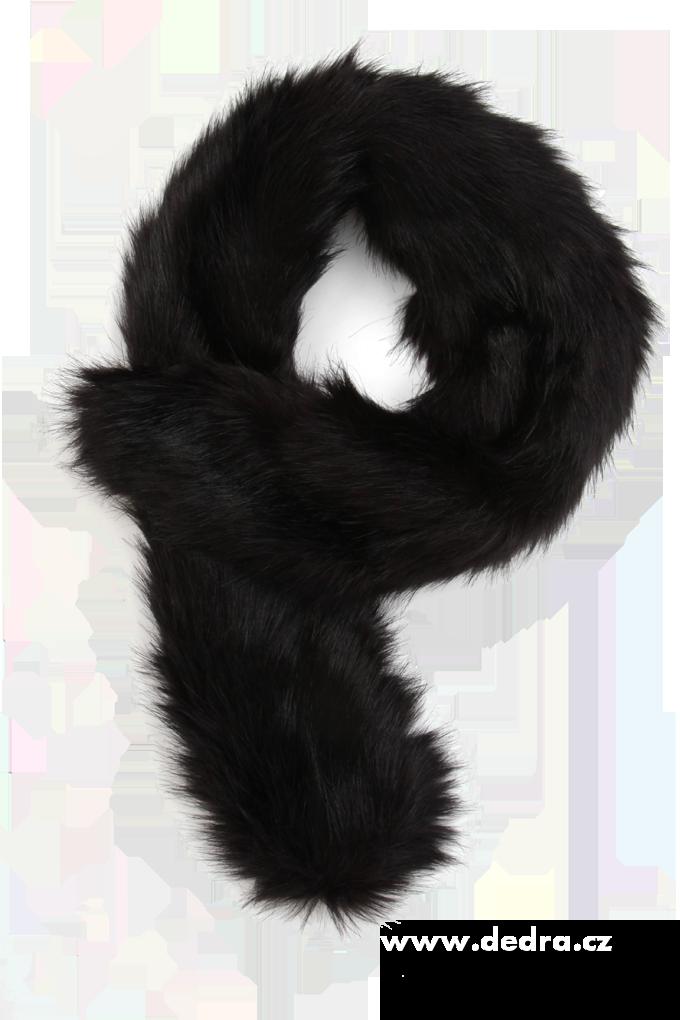 Šál,kožešinový límec saténová podšívka černý