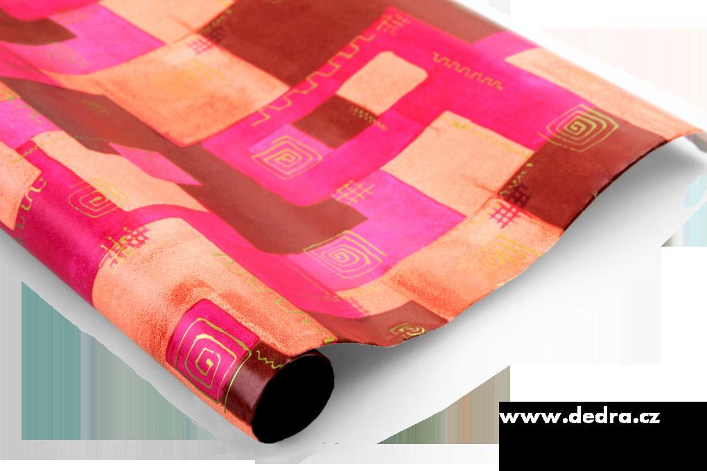 Dárkový balicí papír fuchsiovo/skořicový