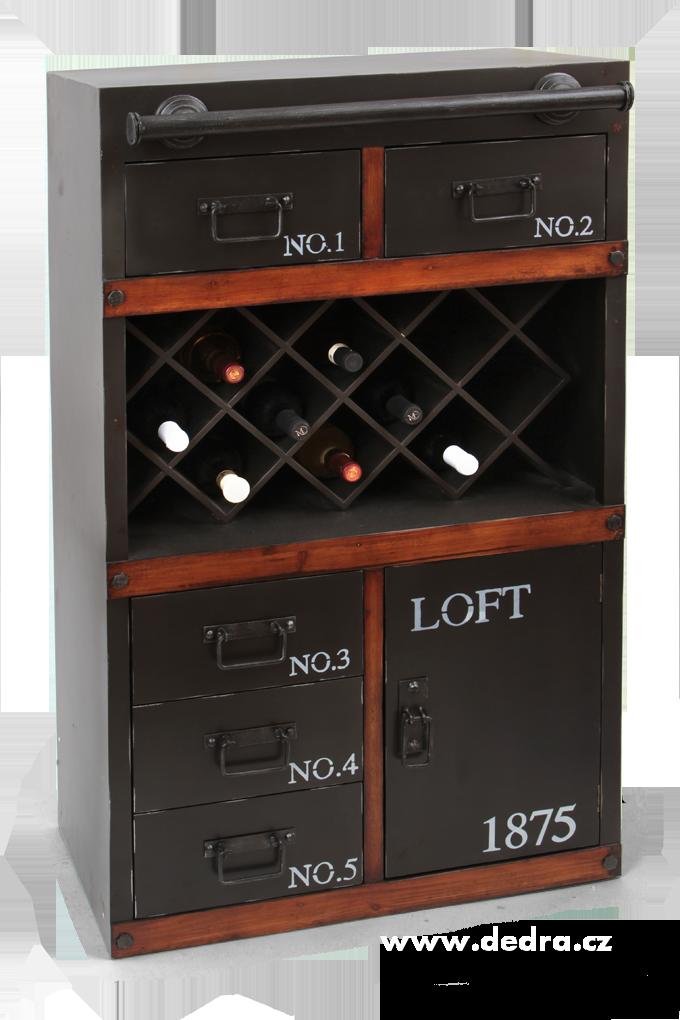 Komodová skříň s vinotékou LOFT1875