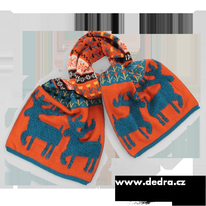 XXL pletený šál se sobem skořicový