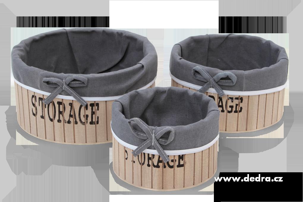 3ks boxy STORAGE kulaté dřevěné s textilním potahem