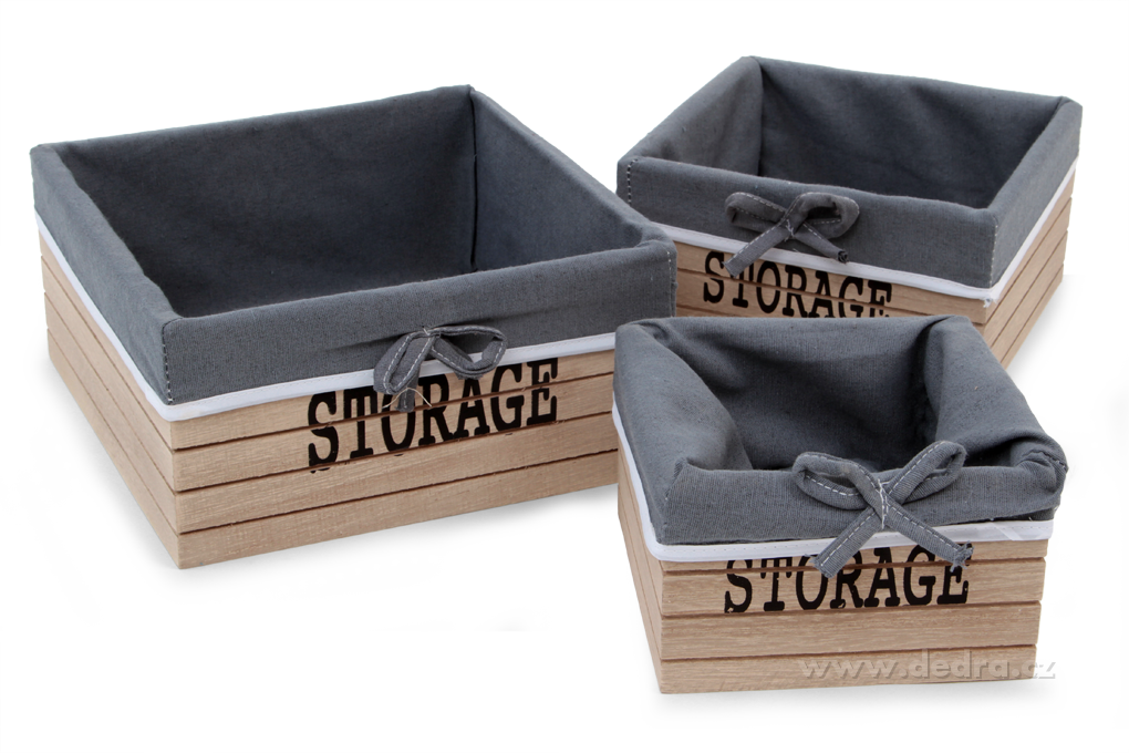 3ks boxy STORAGE čtvercové dřevěné s textilním potahem