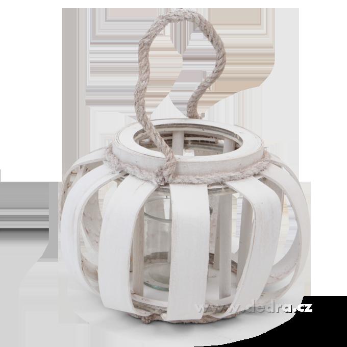 Svícen/váza dekorativní ve tvaru košíku, bílý