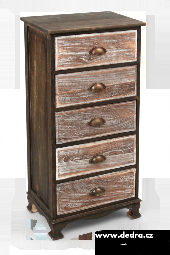 Dřevěná komoda, s 5 zásuvkami