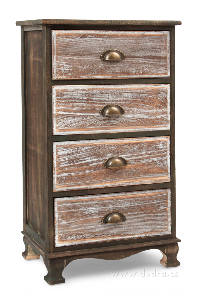 Dřevěná komoda, se 4 zásuvkami