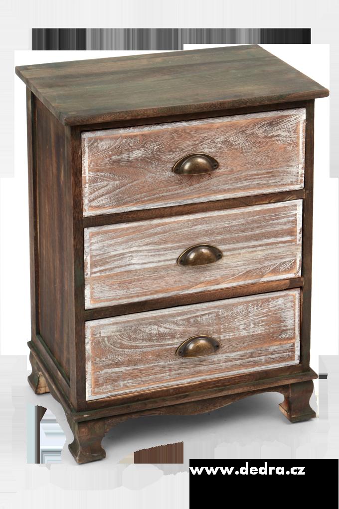 Dřevěná komoda, se 3 zásuvkami