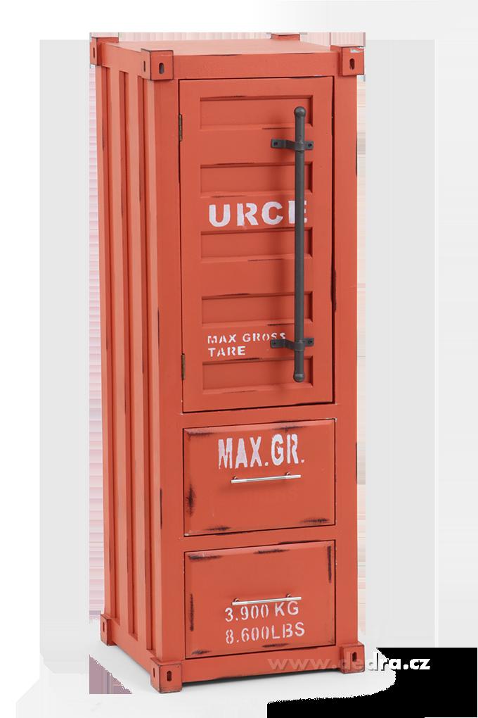 Skříň v designu, kontejneru oranžová