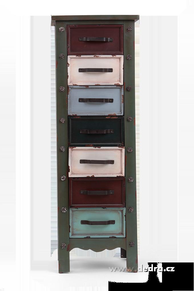 Dřevěná komoda, se 7 různobarevnými