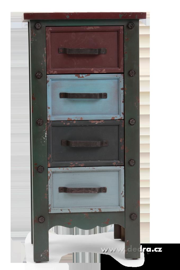 Dřevěná komoda, se 4 různobarevnými