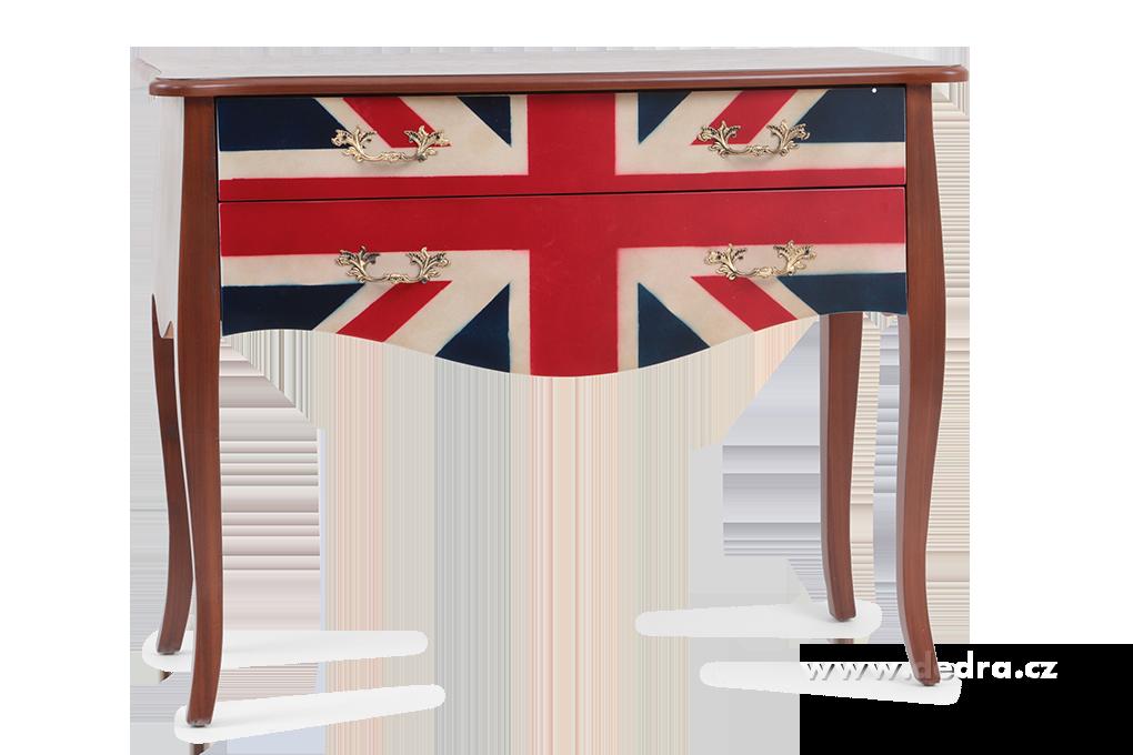 Dřevěný stůl se 2 zásuvkami UK FLAGSTYLE