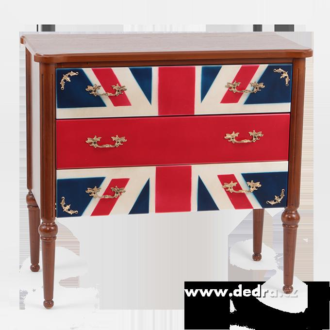 Dřevěná komoda se 3 zásuvkami UK FLAGSTYLE