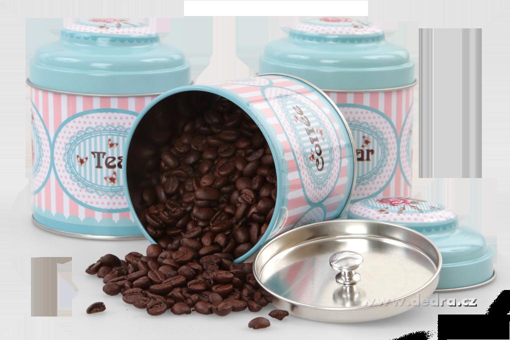 3 ks kulatá dóza, SUGAR, COFFEE, TEA