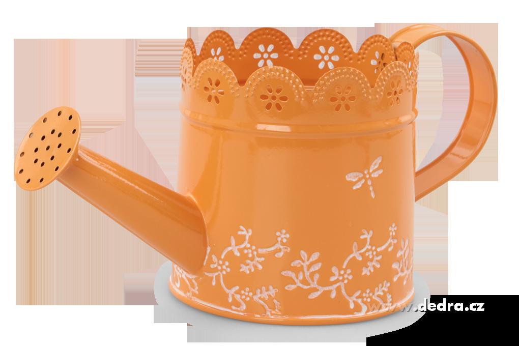 Kovová konvička dekorativní oranžová