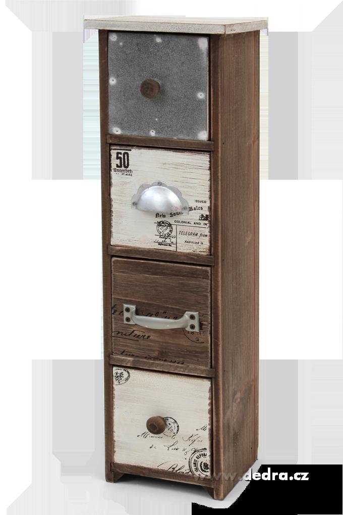 Stolní dřev. komoda, se 4 zásuvkami