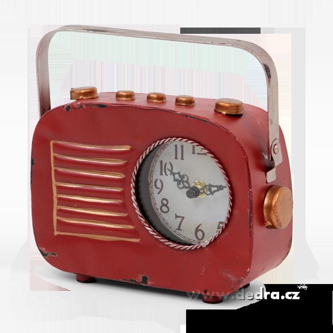 Kovové hodiny, tvar retro rádia